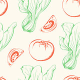 Vegetable vintage seamless pattern