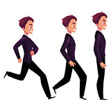 Happy businessman in business suit standing, running, walking