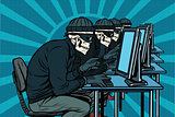 The hacker community, skeletons hacked computers