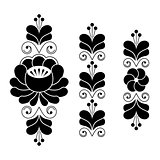 Russian folk art pattern - floral long stripes in black and white