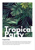 Dark vector tropical summer party flyer design with green jungle palm leaves.