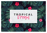 Tropical vector design with bright hibiscus flowers and exotic palm leaves on dark background.