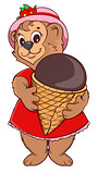Brown bear female keeps ice cream cone