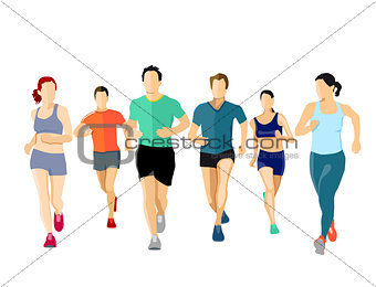 A group of runners, illustration