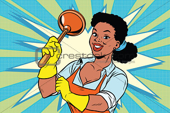 Cleaner with a plunger. African American people