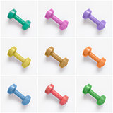 Collage of colorful dumbbells on white background