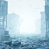 ruins of a city  in a fog