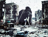 giant mammot in destroyed city