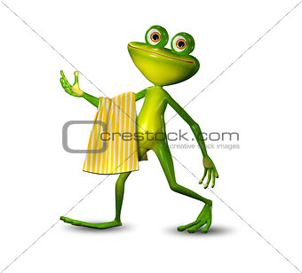 3d Illustration of a Green Frog Walking with a Towel