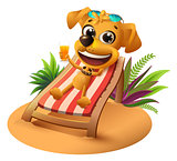 Summer beach vacation. Yellow dog lies on deckchair and holds orange juice