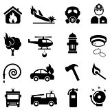 Fire fighting web icon set