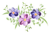 Floral watercolor ornament with leaves