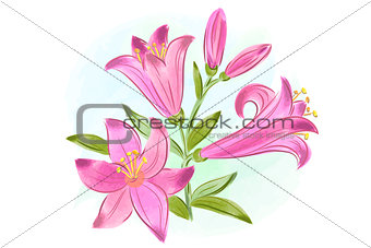 beautiful gift card with pink watercolor lilies