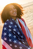 Mixed Race African American Girl Teenager Wrapped in USA Flag on