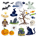 Halloween icons cartoon vector set collection