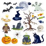 Halloween icons cartoon vector set collection