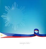 philippines ribbon flag on blue sky background