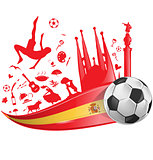 spain flag with soccer ball