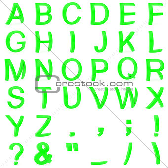 Green font from curved 3D capital letters