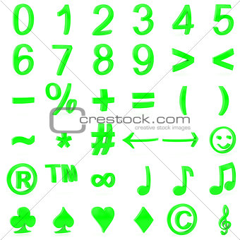 Green curved 3D numbers and symbols