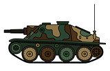 Vintage camouflaged tank destroyer