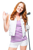 Positive golfer girl posing over white background