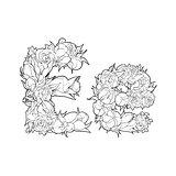 Floral alphabet. Letter E