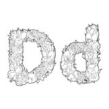 Flower alphabet. The letter D
