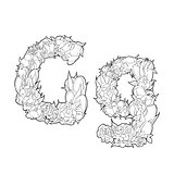 Flower alphabet. The letter G