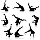 Set Black Silhouettes breakdancer on a white background