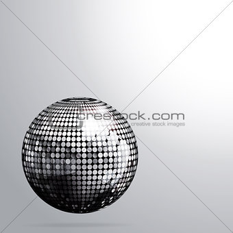 3D Silver disco ball and shadow background