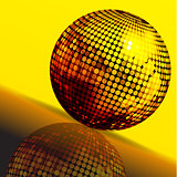 Golden disco ball and reflection background