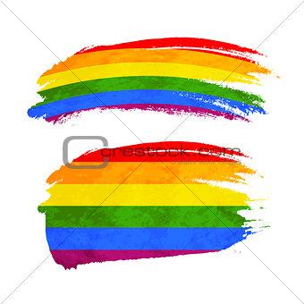 Grunge brush stroke with rainbow flag, LGBT community sign on white