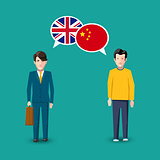 Two people with white speech bubbles with Great britain and China flags. Language study concept illustration