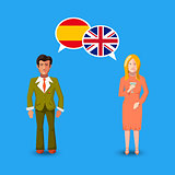 Two people with white speech bubbles with Great britain and Spain flags. Language study concept illustration