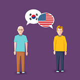 Two people with white speech bubbles with South Korea and USA flags. Language study concept illustration