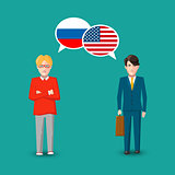 Two people with white speech bubbles with Russia and USA flags. Language study concept illustration