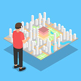 Virtual reality. City plan projection.