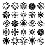 Geometric flower and stars collection, lineart abstract flower icons set