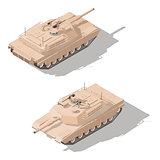 Modern main battle tank with dynamic defense isometric icon set