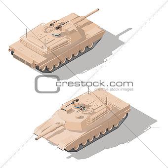 Modern main battle tank with dynamic defense isometric icon set