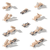 Air defense missile system isometric icon set
