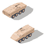 Modern infantry combat vehicle isometric icon set