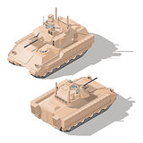Infantry combat vehicle with dynamic protection and anti-tank guided missile system isometric icon set