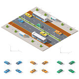 Bus stop and two way road architecture isometric icon set