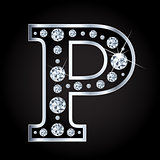 Vector P letter made with diamonds isolated on black background
