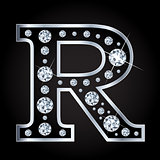 Vector R letter made with diamonds isolated on black background