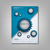 Brochures book or flyer with abstract blue gears template