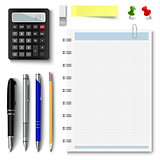 Collection of office supplies on a white background
