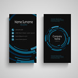 Dark business card with abstract technical blue round